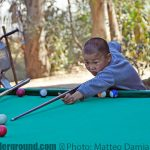 Chinese kids playing snooker