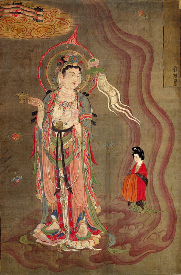 "Bodhisattva Leading the Way, color on silk, 80.5 x 53.8 cm. The image was discovered at Dun Huang in the ""1000 Buddha cave"" (cave 17). The bodhisattva is leading a woman to the Pure Land on the golden cloud in the upper left corner. His right hand contains an incense burner. His left hand contains a lotus flower. Located at the British Museum Department of Asia."