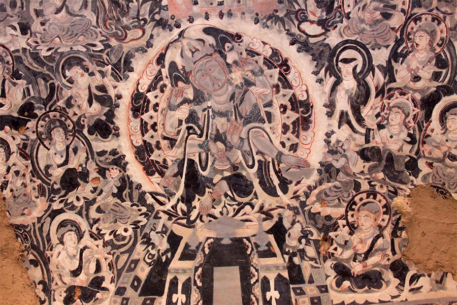 Chinese mural of a bodhisattva from Mogao Caves, Dunhuang, showing strong Central Asian influence, as well as the characteristics of Central Asian Mahayana Buddhism during this time.