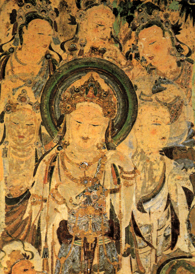 This is cave mural of Avolokitesevara, Worshipping Bodhisattvas and Mendicant. Tang Dynasty (618-907 A.D.)