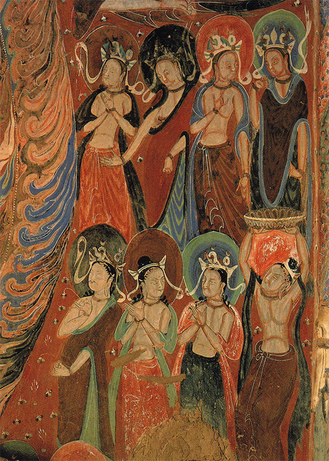 Cave 285. This is cave mural of Worshiping Bodhisattva. Wei Dynasty (535-556 A.D.).