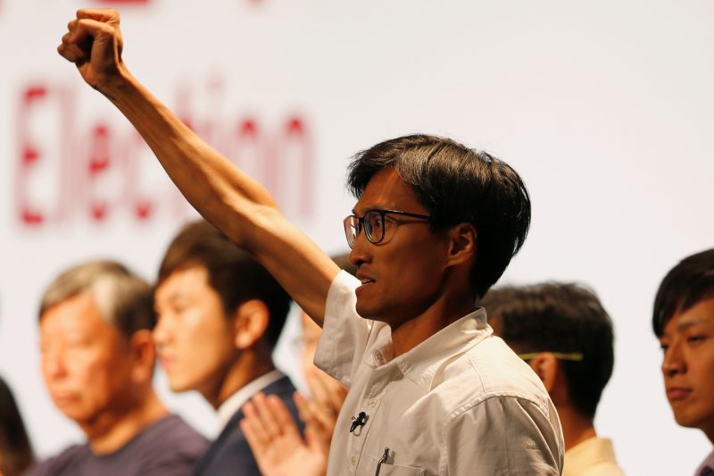 Democratic newcomer Eddie Chu Hoi-dick celebrates his win in the Legislative Council election in Hong Kong, China September 5, 2016. REUTERS/Bobby Yip
