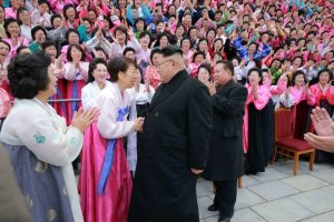 North Korean leader Kim Jong Un takes part in a photo session with the participants of the 6th Congress of the Democratic Women's Union of Korea in this undated photo released by North Korea's Korean Central News Agency (KCNA) in Pyongyang on November 22, 2016. KCNA/ via REUTERS