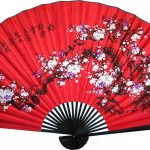 Chinese Wall Fans : Prosperity Blossoms with Black Bamboo