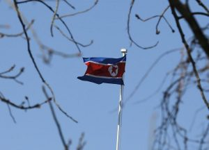 A North Korean flag is pictured at its embassy in Beijing January 6, 2016. REUTERS/Kim Kyung-Hoon