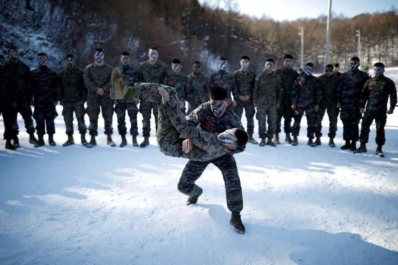 south korea usa military training, South Korean, U.S. Marines tussle in snow in what North brands 'madcap' drill
