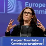European Trade Commissioner Cecilia Malmstrom holds a news conference at the EU Commission headquarters in Brussels