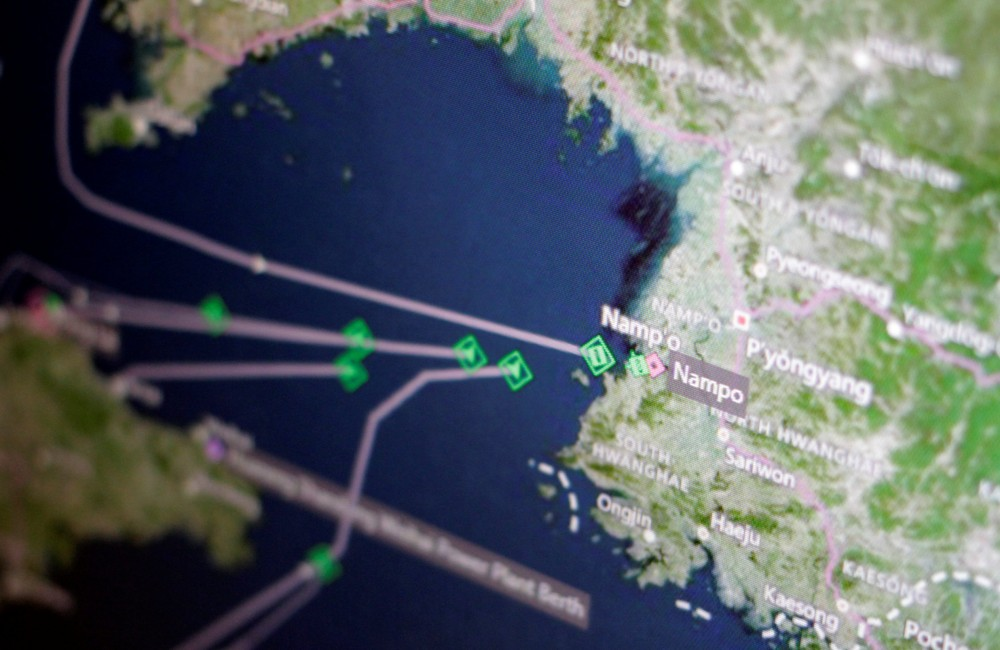 A Thomson Reuters Eikon ship-tracking screen shows cargo ships returning to Nampo port_North Korean ships