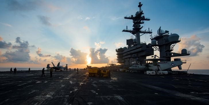 The aircraft carrier USS Carl Vinson (CVN 70) transits the South China Sea