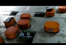 A Chinese company uses a robot sorting system to finish 200,000 packages a day