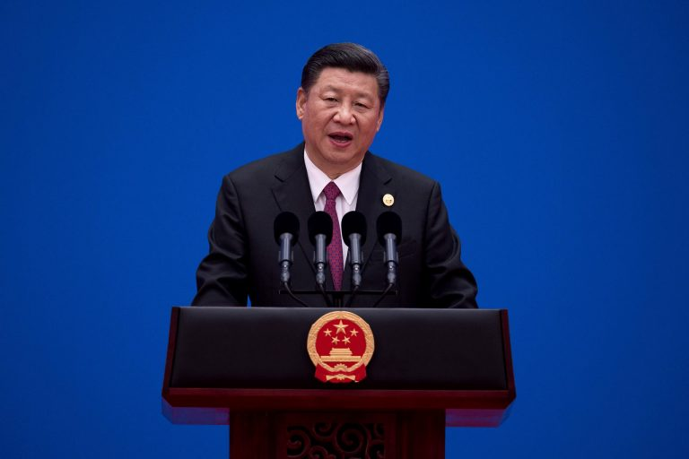 Chinese President Xi Jinping speaks during a briefing on the final day of the Belt and Road Forum, at the Yanqi Lake International Conference Centre, north of Beijing