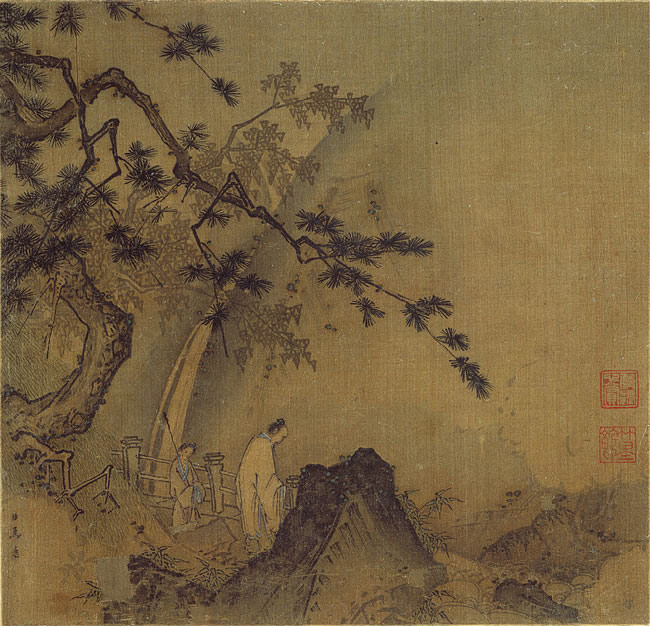 Ma Yuan - Scholar by a Waterfall
