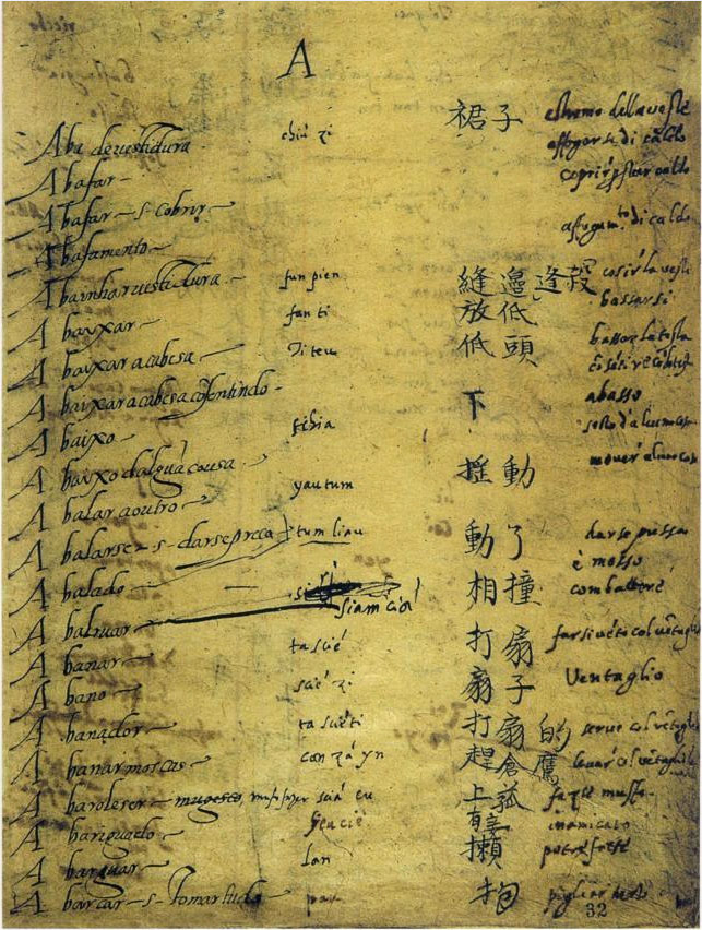 Portuguese-Chinese dictionary created by Ruggieri