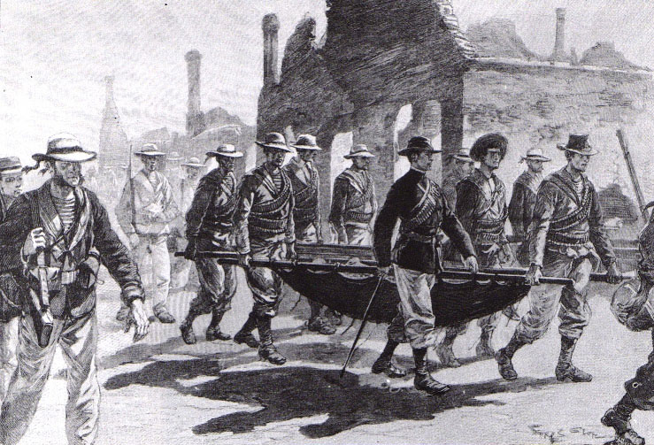Admiral Symour takes refuge in Tianjin with wounded soldiers.