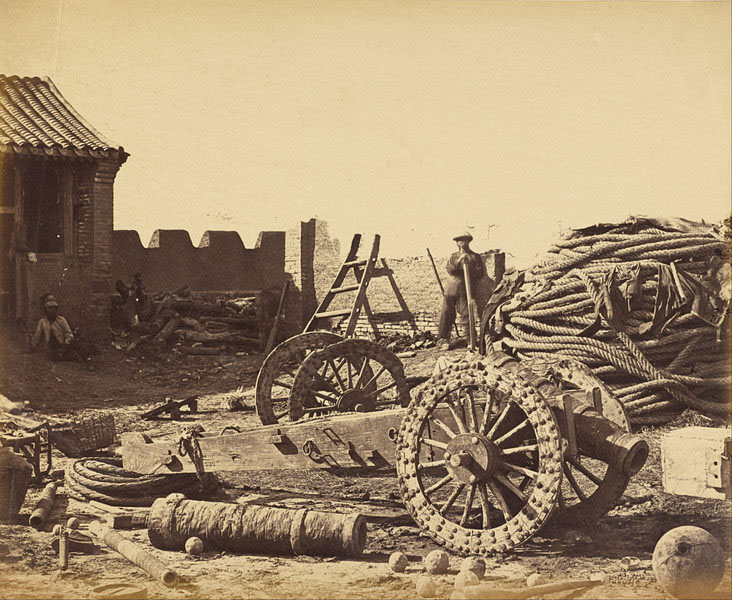 Interior-of-Pehtang-Showing-the-Magazine-and-Wooden-Gun,-August-1,-1860