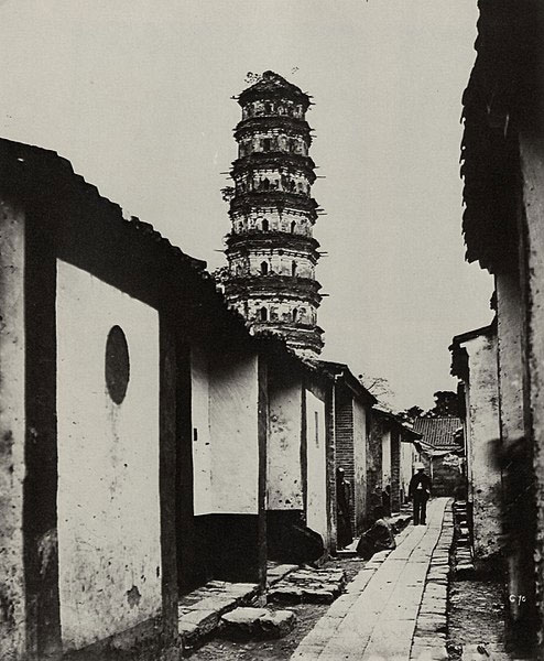 Nine-story-Pagoda-and-Tartar-street,-Canton