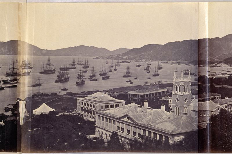 The-Anglo-French-fleet-gathered-in-the-bay-of-Hong-Kong,-March-1860,-prior-to-their-assault-on-Beijing