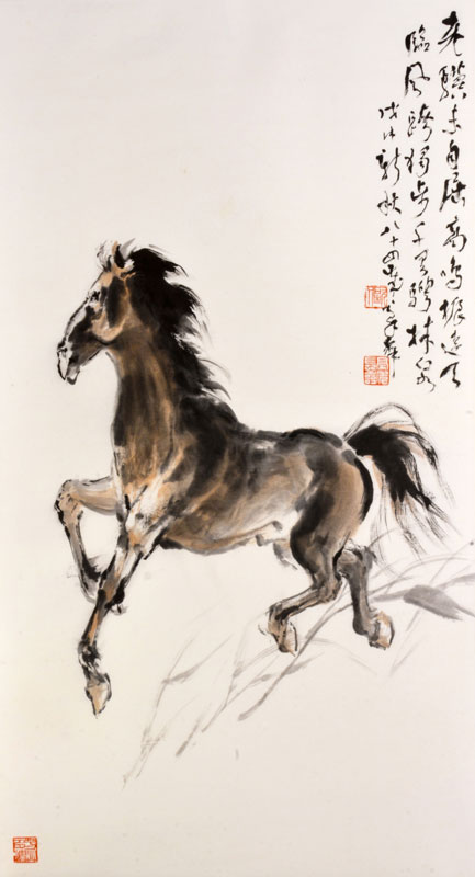 Old Steed , 2018, by Au Ho-­‐nien (Chinese, b. 1935). Ink and colors on paper. Collection of Yicui Shantang. © Au Ho-­‐nien.