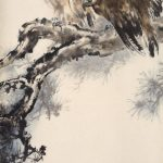 Eagles Perching on a Pine Tree, 1986, by Au Ho-­‐nien (Chinese, b. 1935). Ink and colors on paper. Collection of Yicui Shantang. © Au Ho-­‐nien.