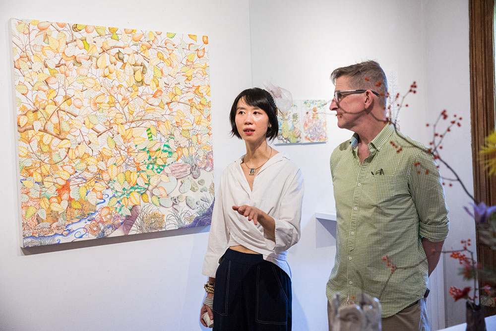 Michael Eade at Opening Reception with gallery owner Echo He - Photo by Nadia PeichaoLin, courtesy Fou Gallery