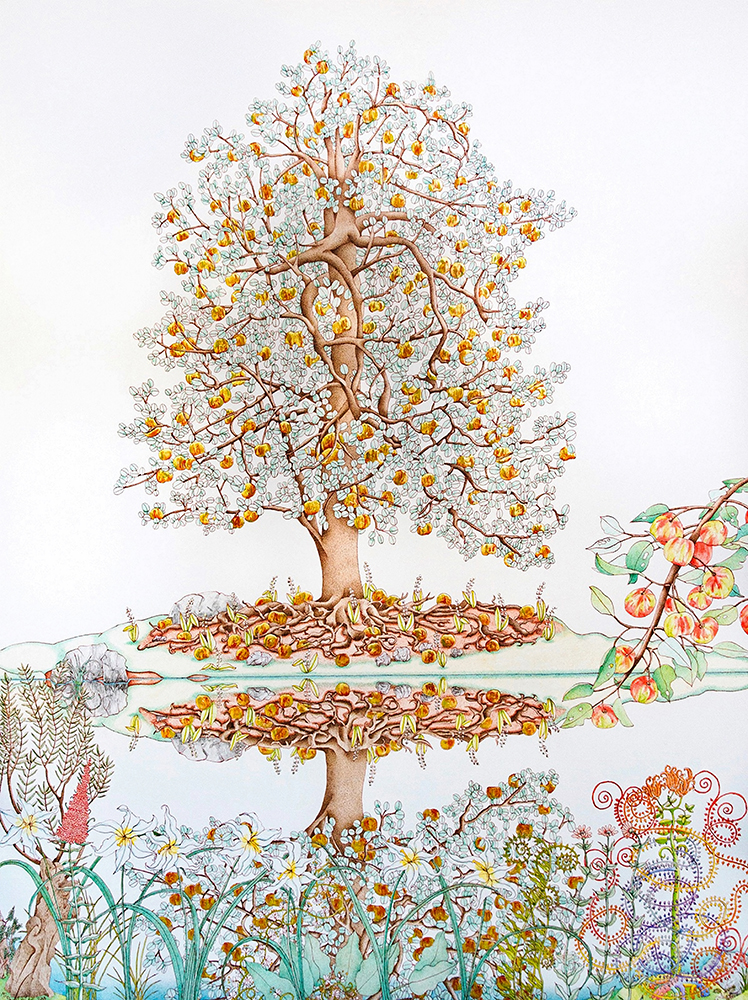 Michael Eade, Tree of Life Reflected, 2018. Egg tempera, raised 22k gold leaf, raised aluminum leaf, oil on canvas, 48 x 36 inches ©Michael Eade, courtesy Fou Gallery