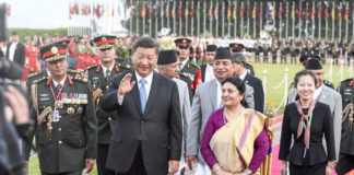 Chinese President Xi Jinping attends a welcome ceremony held by Nepal's President Bidya Devi Bhandari. Photo: Xinhua