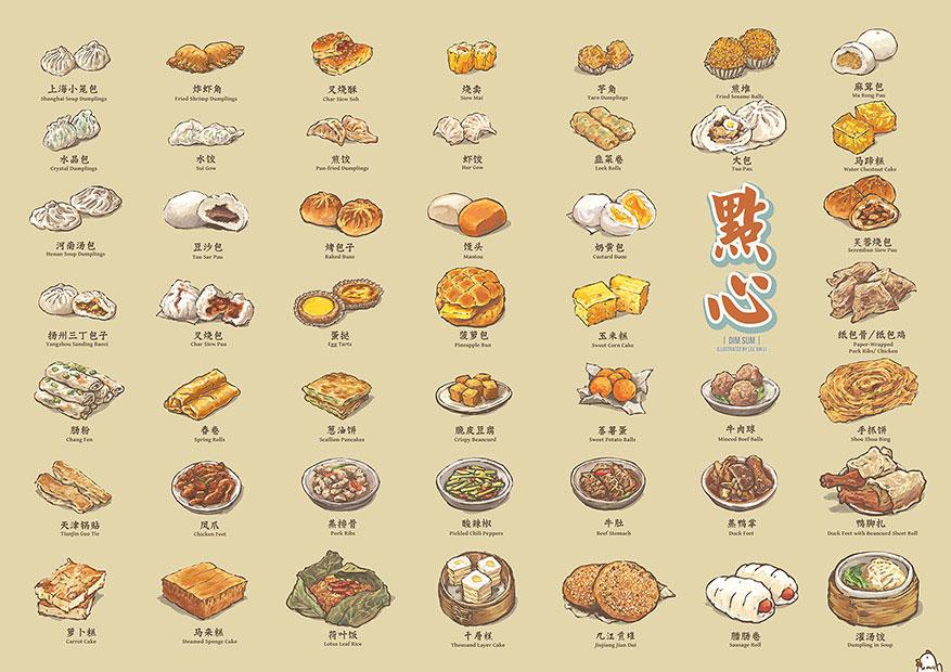 chinese dimsum_food illustrator lee xin li_food illustrations