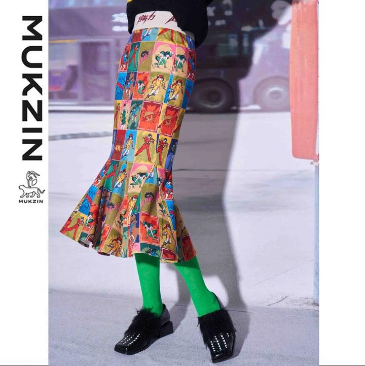 Mukzin-Designer-Brand-Cartoon-Character-Printed-Midiskirt