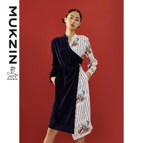 Mukzin-Designer-Brand-Contrast-Lace-up-Dress