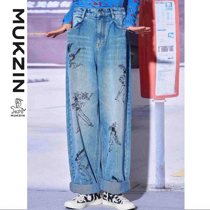 Mukzin-Designer-Brand-Retro-Anime-Character-Print-Jeans