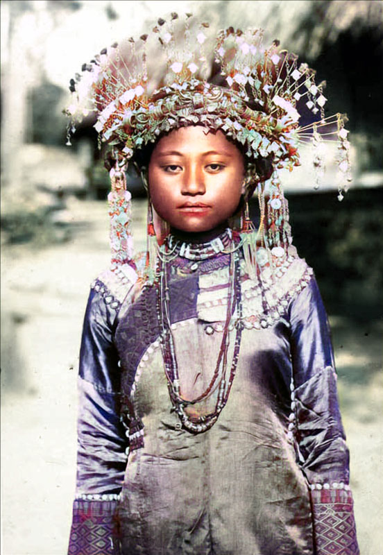 Taiwan Paiwan tribe girl colorized